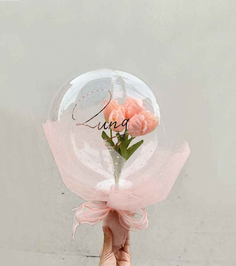 フラワーバルーンブーケチューリップピンク